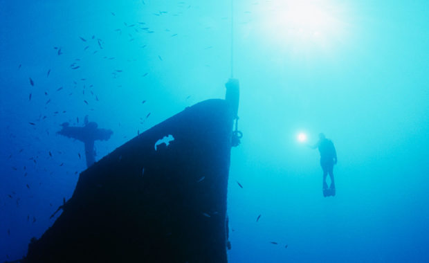 Diver at the Yongala shipwreck